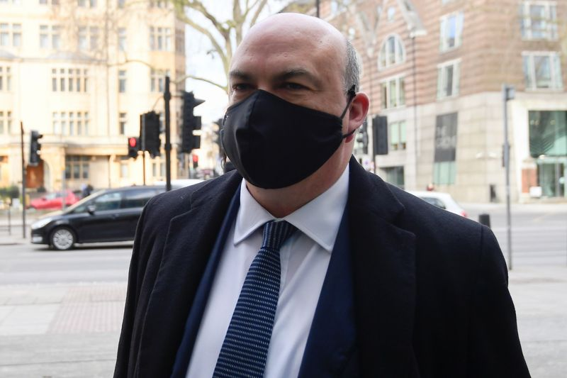 British entrepreneur Mike Lynch arrives at Westminster Magistrates Court in London