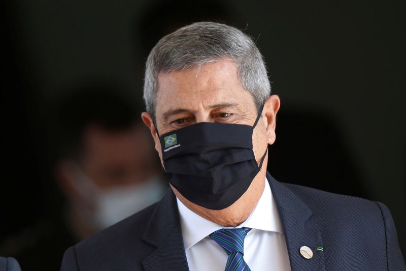 Brazil's Defense Minister Walter Souza Braga Netto looks on  after a ceremony at the Ministry of Defense headquarters