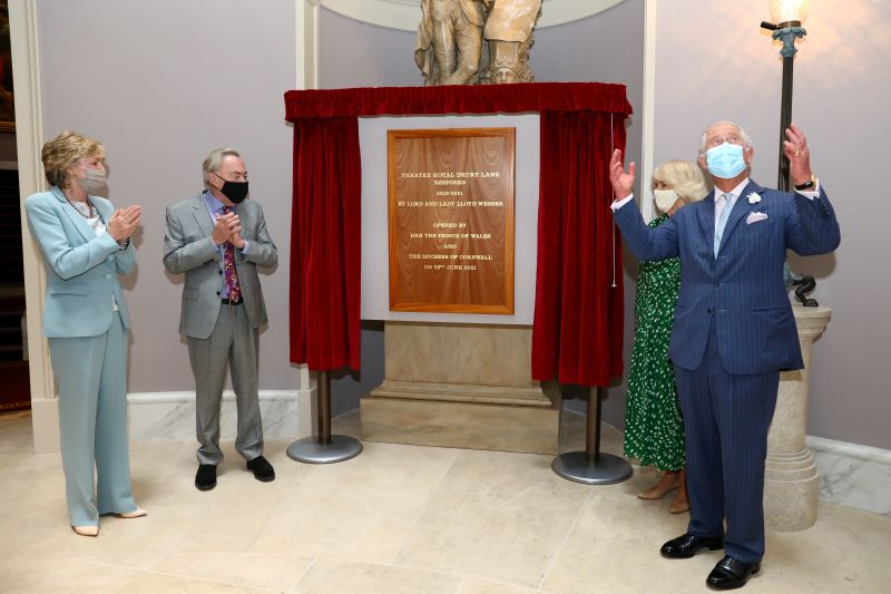 Britain's Prince Charles and Camilla, Duchess of Cornwall, visit Theatre Royal in London