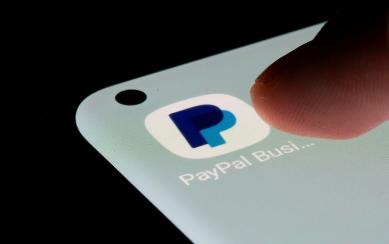 FILE PHOTO: PayPal app is seen on a smartphone in this illustration taken