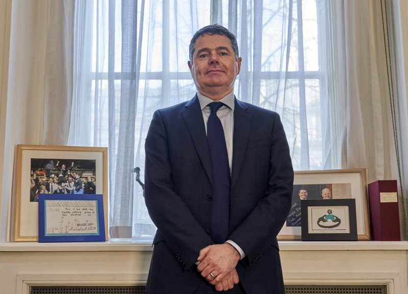 Ireland Finance minister Paschal Donohoe poses for a photo after an interview in Dublin.  (AP Photo/David Keyton)