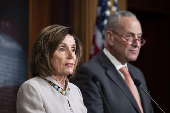 House Speaker Nancy Pelosi, of California, joined by Senate Minority Leader Chuck Schumer of N.Y., speaks during a news conference, on Capitol Hill, in Washington. (AP Photo/Alex Brandon, File)