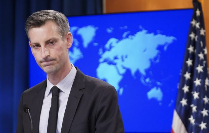 State Department Spokesman Ned Price speaks to reporters during a news briefing at the State Department in Washington. (Kevin Lamarque/Pool via AP)