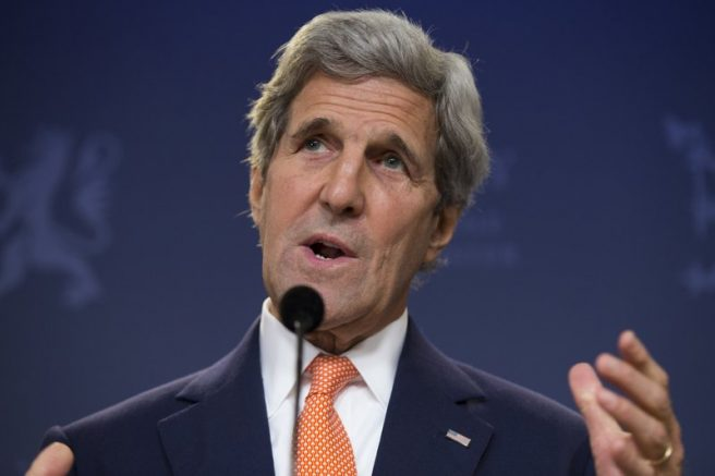 Climate Envoy John Kerry speaks during a news conference in Oslo, Norway. (AP Photo/Evan Vucci, Pool)