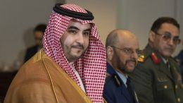 """FILE - In this Aug. 29, 2019 file photo, Saudi Deputy Defense Minister Prince Khalid bin Salman meets with Secretary of Defense Mark Esper at the Pentagon. On Thursday, April 9, 2020, a cease-fire proposed by the Saudi-led coalition fighting Iran-backed Houthi rebels in Yemen has gone into effect, potentially paving the way for an end to the more than 5-year-old conflict. Saudi officials announced late on Wednesday that the cease-fire would last for two weeks and that it comes in response to U.N. calls to halt hostilities amid the coronavirus pandemic. Prince Khalid bin Salman tweeted on Thursday that the cease-fire """"will hopefully create a more effective climate to deescalate tensions"""" and enable the sides to work toward a political settlement. (AP Photo/Manuel Balce Ceneta, File)"""