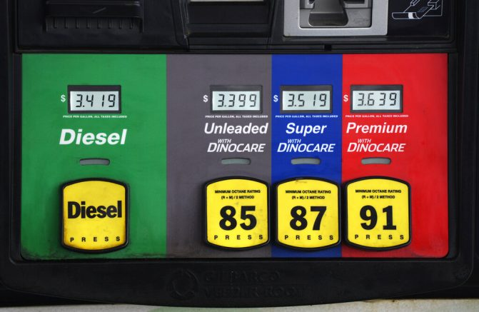 Prices are displayed above the different grades of gasoline available to motorists near Cheyenne, Wyo. (AP Photo/David Zalubowski)