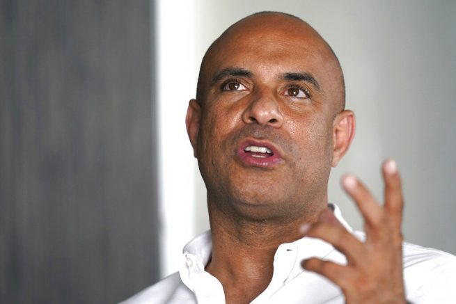 Laurent Lamothe, a former prime minister of Haiti, speaks during an interview in Miami Beach, Fla., following the news that Haitian President Jovenel Moïse was assassinated in an attack on his private residence, Wednesday, July 7, 2021. (AP Photo/Lynne Sladky)