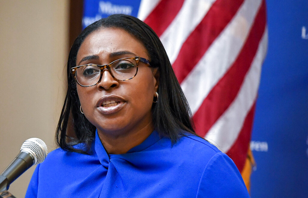 FILE - In this Thursday Sept. 3, 2020, file photo Rochester Mayor Lovely Warren speaks during a press conference in Rochester, N.Y. Warren is facing criminal charges Friday, July 16, 2021, in connection with a May search of the home she shares with her husband. (AP Photo/Adrian Kraus, File)