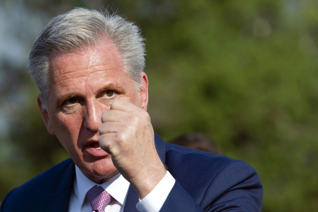 House Minority Leader Kevin McCarthy of Calif., speaks about the House Select committee investigating the January 6 attack on the U.S. Capitol, Tuesday, July 27, 2021, on Capitol Hill in Washington. (AP Photo/Jacquelyn Martin)