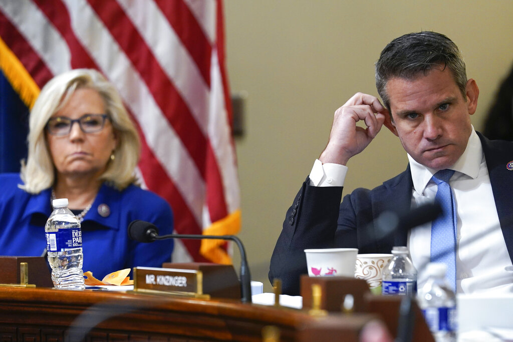 Rep. Liz Cheney, R-Wyo., and Rep. Adam Kinzinger, R-Ill., listen as Rep. Elaine Luria, D-Va., speaks during the House select committee hearing on the Jan. 6 attack on Capitol Hill in Washington, Tuesday, July 27, 2021. (AP Photo/ Andrew Harnik, Pool)