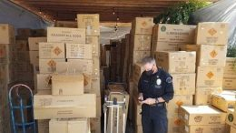 This July 2021 photo released by the ATF/United States Attorney's Office Central District of California, shows boxes of illegal large homemade fireworks explosives in South Los Angeles. Authorities found over 500 boxes of commercial grade fireworks in large cardboard boxes. A 27-year-old man was charged Saturday, July 3, 2021 with illegally transporting tons of explosives he purchased in Nevada — including several that left a trail of destruction and injuries after they blew up in a Los Angeles neighborhood. Arturo Ceja III faces the federal charges, according to the U.S. Attorney's office in Los Angeles. (ATF/United States Attorney's Office Central District of California via AP)