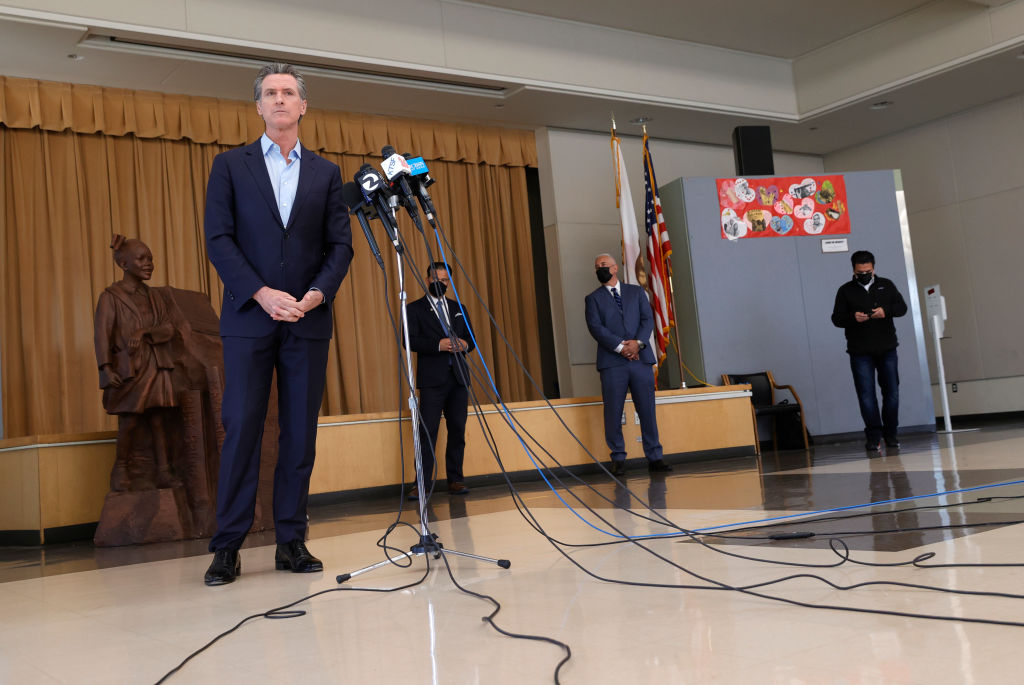 ALAMEDA, CALIFORNIA - MARCH 16: California Gov. Gavin Newsom speaks during a news conference after he toured the newly reopened Ruby Bridges Elementary School on March 16, 2021 in Alameda, California. Gov. Newsom is traveling throughout California to highlight the state's efforts to reopen schools and businesses as he faces the threat of recall. (Photo by Justin Sullivan/Getty Images)