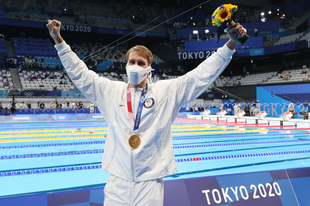 TOKYO, JAPAN - JULY 25: Chase Kalisz of Team United States celebrates with the gold medal for the Men's 400m Individual Medley Final on day two of the Tokyo 2020 Olympic Games at Tokyo Aquatics Centre on July 25, 2021 in Tokyo, Japan. (Photo by Al Bello/Getty Images)