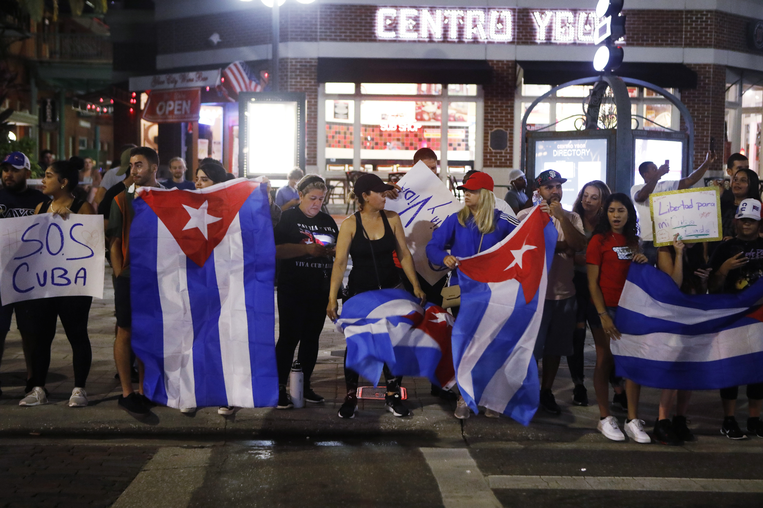Cuban-Americans and sympathizers protest against the Cuban government in the historic neighborhood of Ybor City, on July 14, 2021 in Tampa, Florida. (Photo by Octavio Jones/Getty Images)