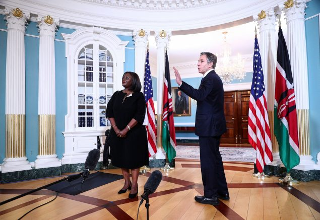 U.S. Secretary of State Antony Blinken gestures as Kenya's Cabinet Secretary for Foreign Affairs Ambassador Raychelle Omamo looks on at the State Department in Washington, DC, July 16, 2021. (Photo by TOM BRENNER/POOL/AFP via Getty Images)