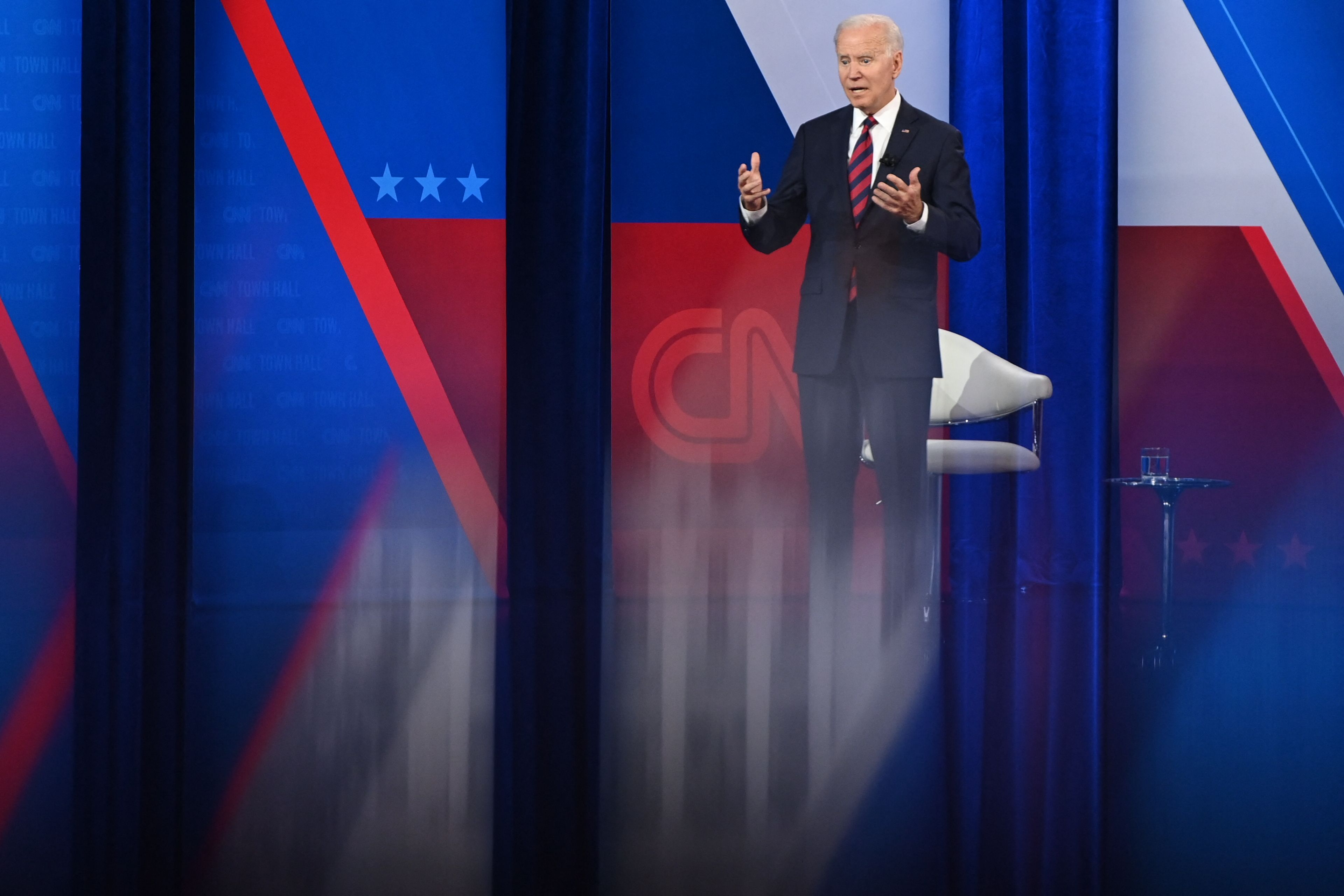 oe Biden participates in a CNN Town Hall hosted by Don Lemon at Mount St. Joseph University in Cincinnati, Ohio. (Photo by SAUL LOEB/AFP via Getty Images)