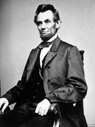 A photographic portrait is displayed showing Abraham Lincoln, the 16th president of the United States. (Photo by Hulton/Archive/Getty Images)