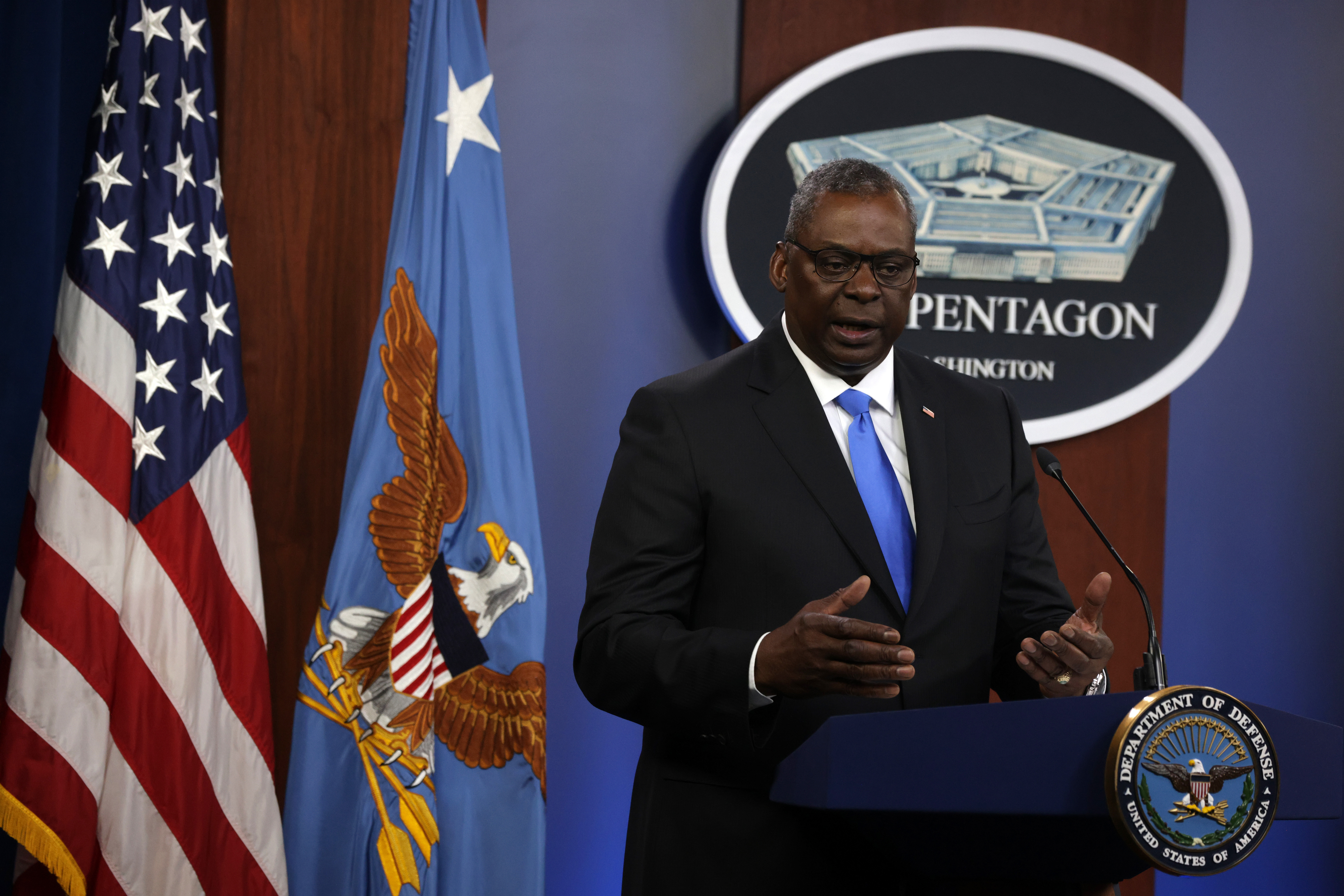 U.S. Secretary of Defense Lloyd Austin speaks during a news briefing at the Pentagon in Arlington, Virginia. (Photo by Alex Wong/Getty Images)