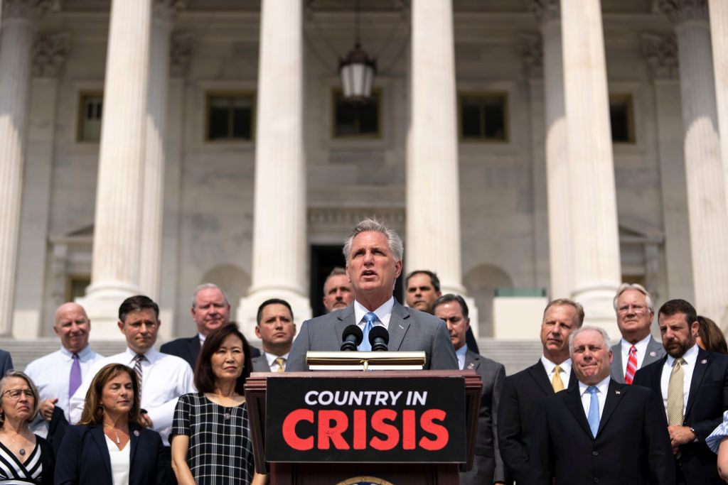 WASHINGTON, DC - JULY 29: Surrounded by members of the House Republican Conference, House Minority Leader Kevin McCarthy (R-CA) speaks during a news conference outside the U.S. Capitol on July 29, 2021 in Washington, DC. McCarthy and Republicans criticized the Biden administration on a wide array of issues, including the CDC's new guidance on indoor masking due to the Delta variant of the coronavirus. (Photo by Drew Angerer/Getty Images)