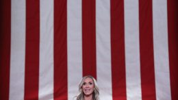 WASHINGTON, DC - AUGUST 26: Lara Trump, daughter-in-law and campaign advisor for U.S. President Donald Trump, pre-records her address to the Republican National Convention from inside an empty Mellon Auditorium on August 26, 2020 in Washington, DC. The novel coronavirus pandemic has forced the Republican Party to move away from an in-person convention to a televised format, similar to the Democratic Party's convention a week earlier. (Photo by Chip Somodevilla/Getty Images)
