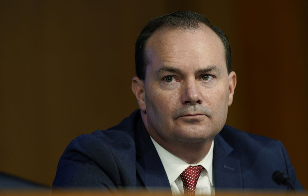 (Susan Walsh | Pool photo via AP) Sen. Mike Lee, R-Utah, listens during a confirmation hearing for Supreme Court nominee Amy Coney Barrett before the Senate Judiciary Committee on Monday, Oct. 12, 2020, on Capitol Hill.