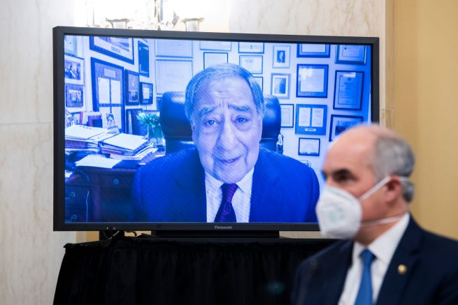 WASHINGTON, DC - FEBRUARY 24: Former CIA Director Leon Panetta, on monitor, makes remarks on behalf of William Burns, nominee for Central Intelligence Agency director, during his Senate Select Intelligence Committee confirmation hearing in Russell Senate Office Building on February 24, 2021 on Capitol Hill in Washington, DC. Burns is a career diplomat who most recently served as Deputy Secretary of State in the Obama administration. (Photo by Tom Williams-Pool/Getty Images)
