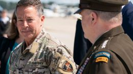 US Army Gen. Scott Miller(L), the former top US commander in Afghanistan, walks with Joint Chiefs Chairman Gen. Mark Milley upon Millers return, on July 14, 2021, at Andrews Air Force Base, Maryland. - The top US general in Afghanistan relinquished command on July 12, 2021 at a ceremony in Kabul, the latest symbolic gesture bringing America's longest war nearer to an end even as the Taliban continue a bloody onslaught across the country. (Photo by Alex Brandon / POOL / AFP) (Photo by ALEX BRANDON/POOL/AFP via Getty Images)