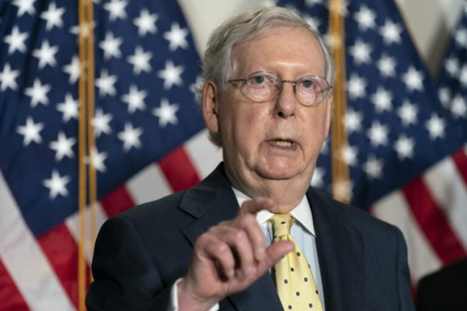 Senate Majority Leader Mitch McConnell of Ky., speaks after meeting with Senate Republicans, Wednesday, Sept. 9, 2020, on Capitol Hill in Washington. (AP Photo/Jacquelyn Martin)