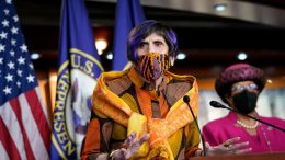 WASHINGTON, DC - APRIL 15: Rep. Rosa DeLauro (D-CT) speaks during a news conference about the Paycheck Fairness Act on Capitol Hill on April 15, 2021 in Washington, DC. The act would make it mandatory for women to be paid the same as men for the same jobs by amending the Fair Labor Standards Act of 1938. (Photo by Drew Angerer/Getty Images)