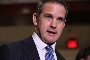 WASHINGTON, DC - MAY 12: Rep. Adam Kinzinger (R-IL) talks to reporters follow a House Republican conference meeting in the U.S. Capitol Visitors Center on May 12, 2021 in Washington, DC. GOP members decided to remove Conference Chair Liz Cheney (R-WY) from her leadership position after she become a target for former President Donald Trump and his followers in the House as she has continually expressed the need for the Republican Party to separate themselves from Trump over his role in the January 6 attack on the Capitol. (Photo by Chip Somodevilla/Getty Images)
