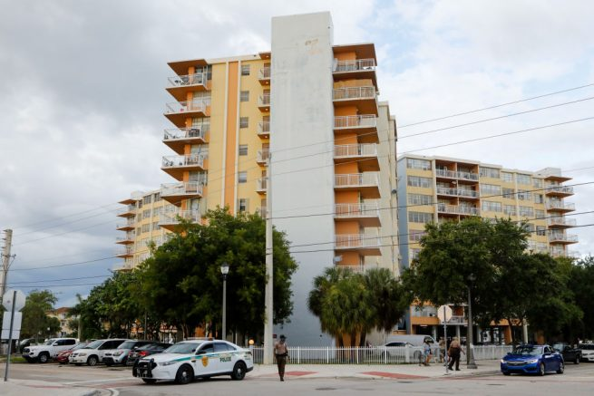 NORTH MIAMI BEACH, FL - JULY 02: A general view of the Crestview Towers Condominium on July 2, 2021 in North Miami Beach, Florida. More than 300 residents of the Crestview Towers Condominium are being evacuated after a building inspection report turned in by the condo association outlined structural and electrical conditions. (Photo by Eva Marie Uzcategui/Getty Images)
