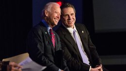 NEW YORK, NY - JANUARY 29: U.S. Vice President Joe Biden (L) and New York Governor Andrew Cuomo attend a rally for paid family leave on January 29, 2016 in New York City. The rally was attended by many union workers and included speakers Vice President Joe Biden, New York Governor Andrew Cuomo, U.S. Representative Carolyn Maloney (D-NY 12th District) and former model Christy Turlington. (Photo by Andrew Burton/Getty Images)