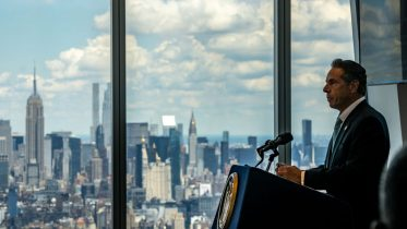 NEW YORK, NY - JUNE 15: New York Gov. Andrew Cuomo speaks during a press conference at One World Trade Center on June 15, 2021 in New York City. The Governor announced that 70% of New York State's adult population has received at least one dose of the COVID-19 vaccine. He also said a majority of New York's coronavirus restrictions will be lifted now that the milestone has been reached, just one week after he set the goal. (Photo by David Dee Delgado/Getty Images)