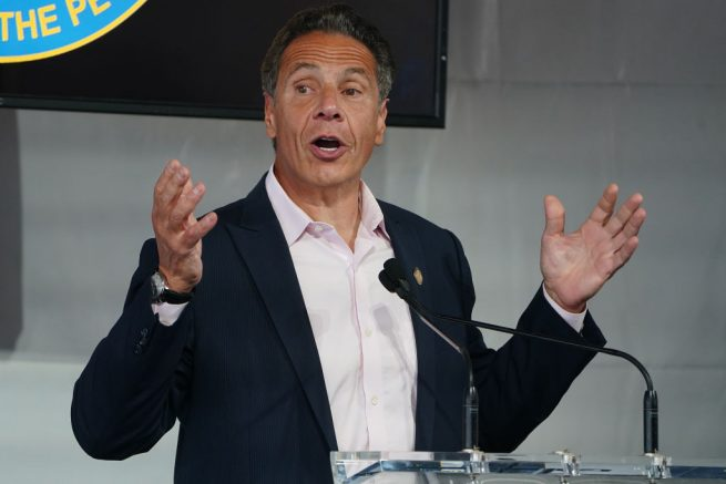 NEW YORK, NEW YORK - JUNE 09: New York Gov. Andrew Cuomo speaks during the opening ceremony for the Tribeca Film Festival on June 9, 2021 in New York City. Actor Robert De Niro co-founded the festival, which is now in its 20th year. (Photo by Carlo Allegri-Pool/Getty Images)