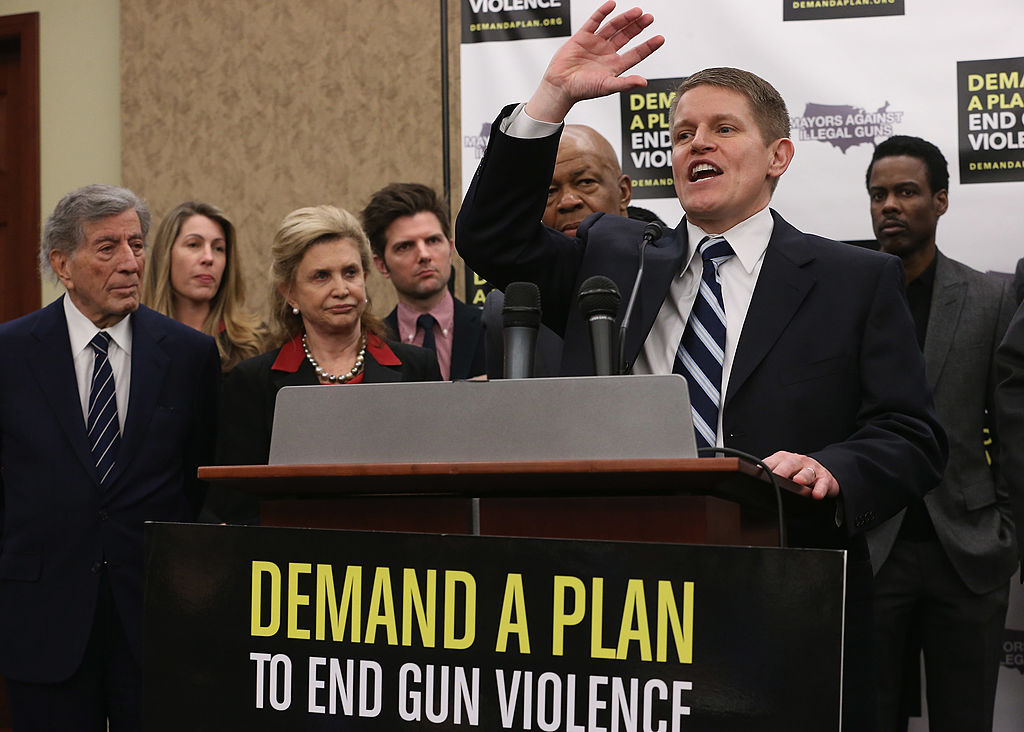 WASHINGTON, DC - FEBRUARY 06: Former ATF Special Agent David Chipman (2nd R) speaks during a press conference hosted by the Mayors Against Illegal Guns and the Law Center to Prevent Gun Violence with (L-R) singer Tony Bennett, LCPGV Executive Director Robyn Thomas, Rep. Carolyn Maloney (D-NY), actor Adam Scott, Rep. Elijah Cummings (D-MD) and actor Chris Rock at the U.S. Capitol February 6, 2013 in Washington, DC. The artists, activists and politicians called for manditory background check on all gun purchases among other restrictions. (Photo by Chip Somodevilla/Getty Images)
