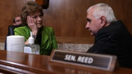 WASHINGTON, DC - JULY 14: U.S. Sen. Jack Reed (D-RI) (R) talks to Sen. Jeanne Shaheen (D-NH) prior to a hearing before the Senate Appropriations Subcommittee on Labor, Health and Human Services, and Education, and Related Agencies at Dirksen Senate Office Building on Capitol Hill July 14, 2021 in Washington, DC. The subcommittee held a hearing to examine proposed budget estimates and justification for fiscal year 2022 for the Department of Labor. (Photo by Alex Wong/Getty Images)