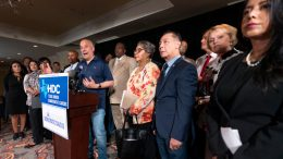 Democratic Texas State Rep. Chris Turner, left, from Grand Prairie, speaks during a news conference with other Texas Democrats, Wednesday, July 14, 2021, in Washington. (AP Photo/Manuel Balce Ceneta)