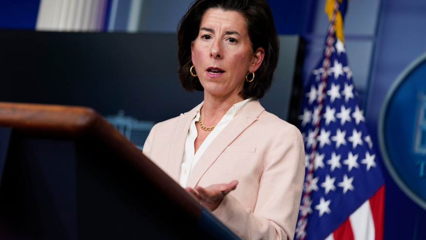 FILE – In this April 7, 2021, file photo Commerce Secretary Gina Raimondo speaks during a press briefing at the White House in Washington. Raimondo estimates she has talked to more than 50 business leaders about the $2.3 trillion infrastructure package that includes corporate tax increases, She is encouraging companies to focus on the entire package instead of the tax increases. (AP Photo/Evan Vucci, File)