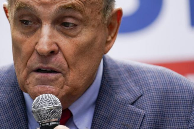 FILE - In this June 21, 2021, file photo former New York City Mayor Rudy Giuliani speaks during a campaign event for Republican mayoral candidate Curtis Sliwa in New York. An appeals court suspended Giuliani from practicing law in New York because he made false statements while trying to get courts to overturn Donald Trump's loss in the presidential race. The ruling, signed Thursday, June 24 will prevent Giuliani from representing clients as a lawyer. (AP Photo/Mary Altaffer, File)