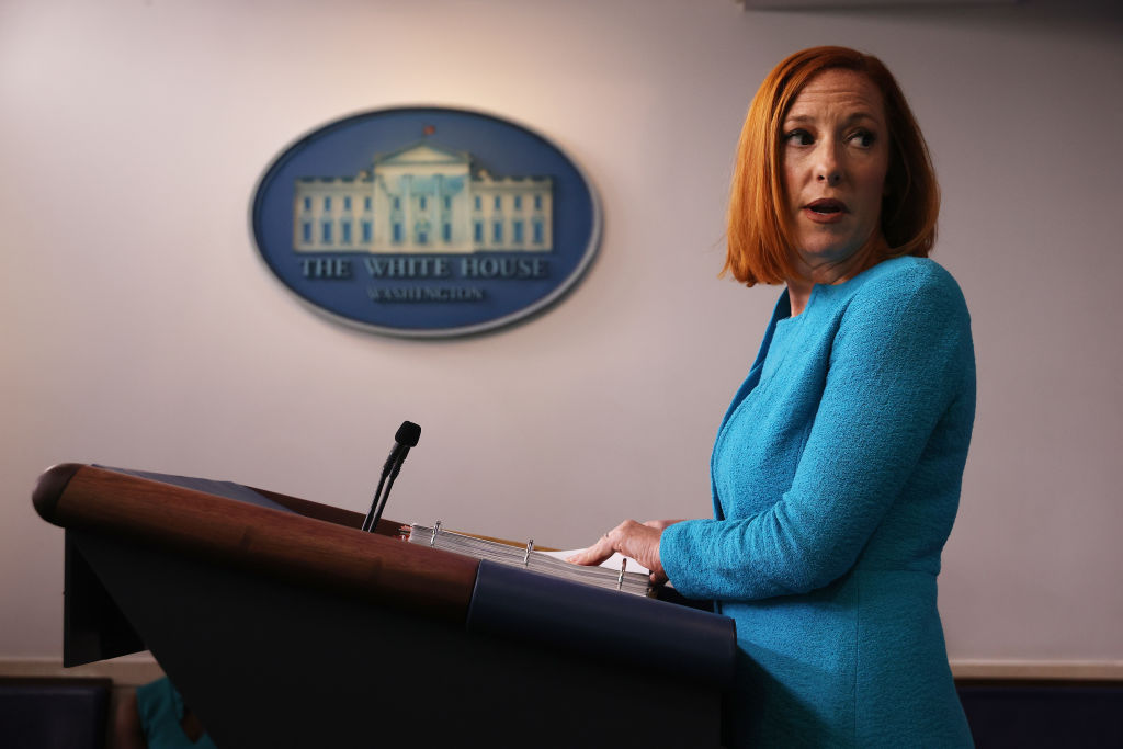 WASHINGTON, DC - JULY 15: White House Press Secretary Jen Psaki talks to reporters during the daily news conference in the Brady Press Briefing Room at the White House on July 15, 2021 in Washington, DC. U.S. Surgeon General Vivek Murthy announced the publication of a Surgeon's General's advisory titled, 'Confronting Health Misinformation,' and called on social media companies to do more to combat false information about the coronavirus vaccine and other health care topics. (Photo by Chip Somodevilla/Getty Images)