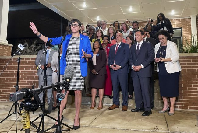 Texas state Rep. Jessica González speaks at a news conference in Austin on May 31 after House Democrats pulled off a dramatic, last-ditch walkout and blocked the voting bill from passing before a midnight deadline.Acacia Coronado / AP