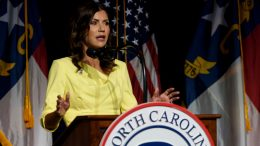 GREENVILLE, NC - JUNE 05: South Dakota Gov. Kristi Noem speaks to attendees at the North Carolina GOP convention on June 5, 2021 in Greenville, North Carolina. Former U.S. President Donald Trump is scheduled to speak at the NCGOP state convention in one of his first high-profile public appearances since leaving the White House in January. (Photo by Melissa Sue Gerrits/Getty Images)