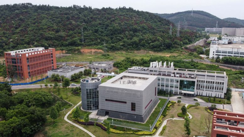 This aerial view shows the P4 laboratory (C) on the campus of the Wuhan Institute of Virology in Wuhan in China's central Hubei province on May 13, 2020. - Opened in 2018, the P4 lab, which is part of the greater Wuhan Institute of Virology and conducts research on the world's most dangerous diseases, has been accused by top US officials of being the source of the COVID-19 coronavirus pandemic. (Photo by Hector RETAMAL / AFP) (Photo by HECTOR RETAMAL/AFP via Getty Images)
