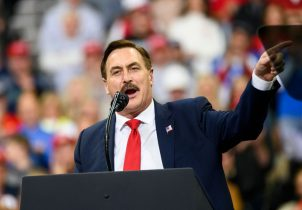 MINNEAPOLIS, MN - OCTOBER 10: Mike Lindell, CEO of My Pillow, speaks during a campaign rally held by U.S. President Donald Trump at the Target Center on October 10, 2019 in Minneapolis, Minnesota. Lindell is an outspoken supporter of the Trump presidency and his campaign for reelection. (Photo by Stephen Maturen/Getty Images)