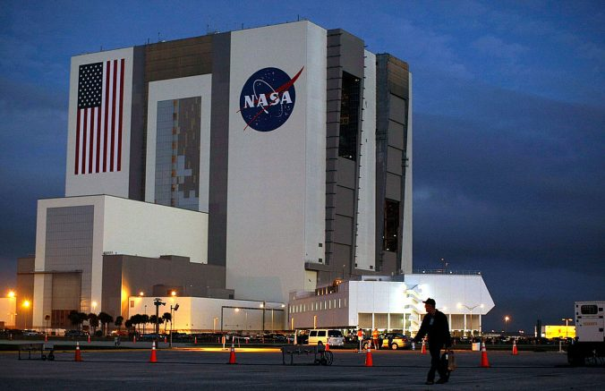 CAPE CANAVERAL, FL - FEBRUARY 07: Clouds are seen behind the NASA's Vehicle Assembly Building (VAB) at the Kennedy Space Center February 7, 2008 at Cape Canaveral, Florida. Bad weather is threatening today?s scheduled 2:34 pm EST launch of the Space Shuttle Atlantis. (Photo by Mark Wilson/Getty Images)