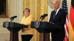 WASHINGTON, DC - JULY 15: German Chancellor Angela Merkel and U.S. President Joe Biden hold a joint news conference in the East Room of the White House on July 15, 2021 in Washington, DC. During what is likely her last official visit to Washington, Merkel and Biden discussed their shared priorities on climate change and defense; and Biden voiced his concerns about the Nord Stream 2 Russian natural gas pipeline. (Photo by Chip Somodevilla/Getty Images)