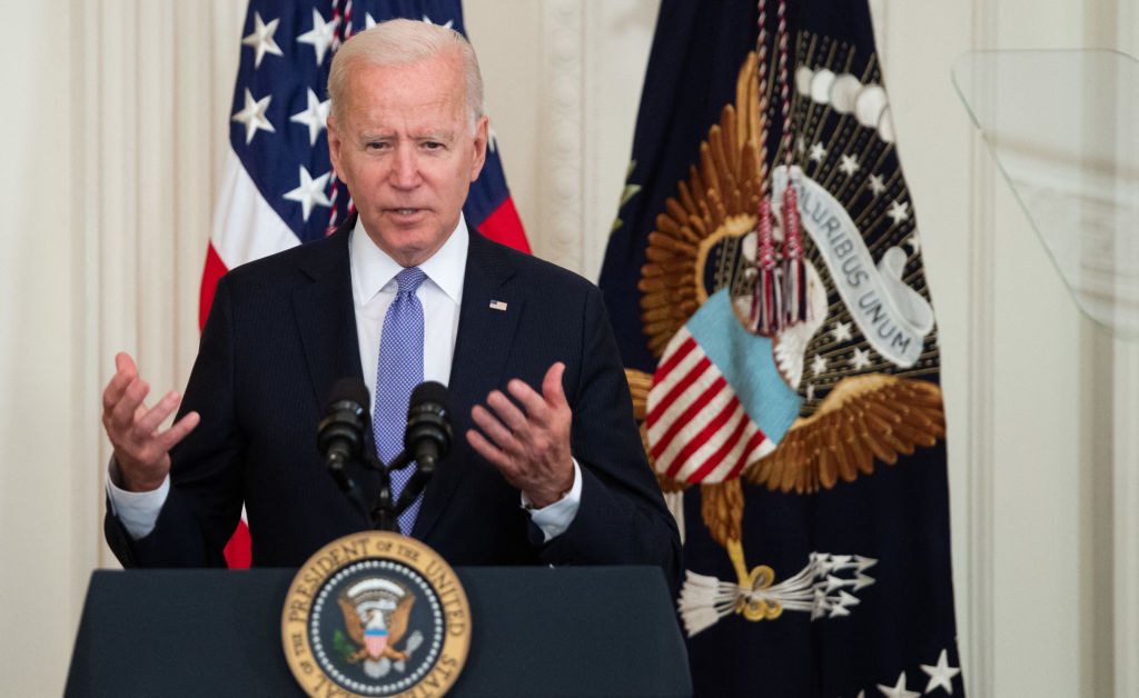 US President Joe Biden speaks prior to signing H.R. 1652, the VOCA Fix to Sustain the Crime Victims Fund Act of 2021, which redirects monetary penalties to increase funding for victim compensation funds, during a ceremony in the East Room of the White House in Washington, DC, July 22, 2021. (Photo by SAUL LOEB / AFP) (Photo by SAUL LOEB/AFP via Getty Images)