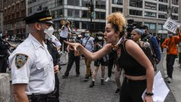NEW YORK, NY - MAY 28: Protesters clash with police during a rally against the death of Minneapolis, Minnesota man George Floyd at the hands of police on May 28, 2020 in Union Square in New York City. Floyd's death was captured in video that went viral of the incident. Minnesota Gov. Tim Walz called in the National Guard today as looting broke out in St. Paul. (Photo by Stephanie Keith/Getty Images)