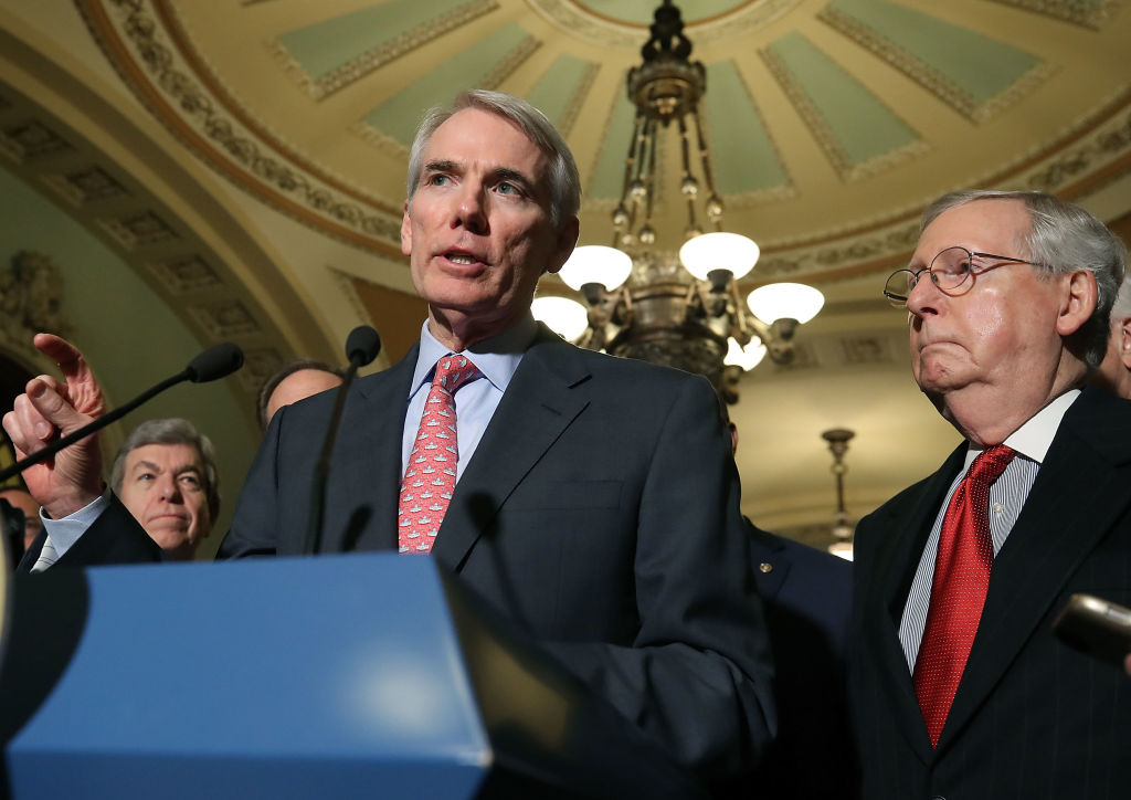WASHINGTON, DC - NOVEMBER 14: Sen. Rob Portman (R-OH) speaks to reporters about the proposed Senate Republican tax bill, after attending the Senate GOP policy luncheon, at US Capitol on November 14, 2017 in Washington, DC. (Photo by Mark Wilson/Getty Images)