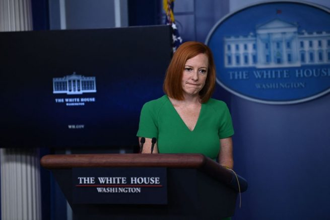 White House Press Secretary Jen Psaki speaks during the daily press briefing on July 16, 2021, in the Brady Briefing Room of the White House in Washington, DC. (Photo by Brendan SMIALOWSKI / AFP) (Photo by BRENDAN SMIALOWSKI/AFP via Getty Images)